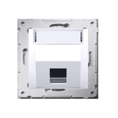 Abdeckung für Telefon- und Datensteckdose (Modul) 1fach weiß glänzend DKP1S.01/11