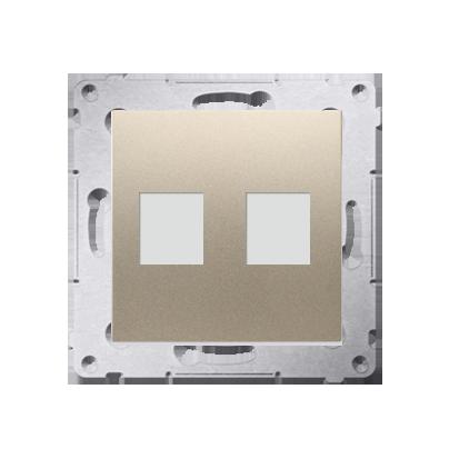 Abdeckung für Telefon- und Datensteckdose (Modul) 2fach auf Keystone gold matt DKP2.01/44