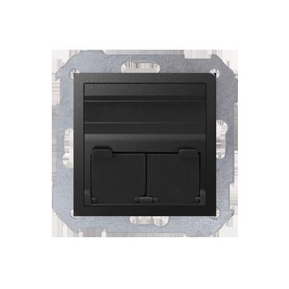 Abdeckung für UAE- Dose RJ45 2fach graphit matt schräg Kontakt Simon 82 82579-38
