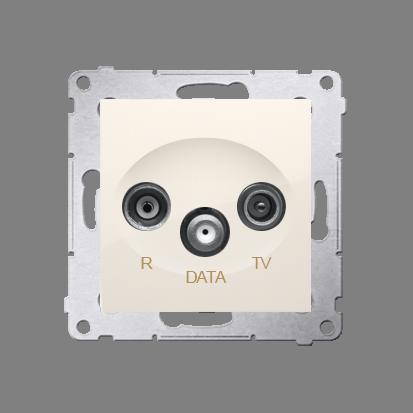 Antennensteckdose R-TV-DATA 10dB cremeweiß matt Simon 54 Premium Kontakt Simon DAD.01/41