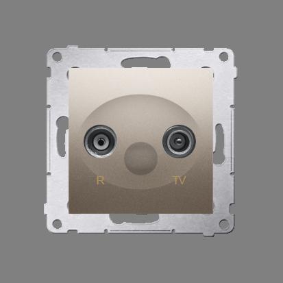 Antennensteckdose R-TV  Durchgangsdose 10dB gold matt Simon 54 Premium Kontakt Simon DAP10.01/44
