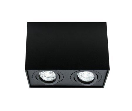 Aufbaustrahler Aufbauleuchte PALLAD 2 BLACK 2xGU10 Deckenleuchte quadratisch schwarz EDO777110 EDO