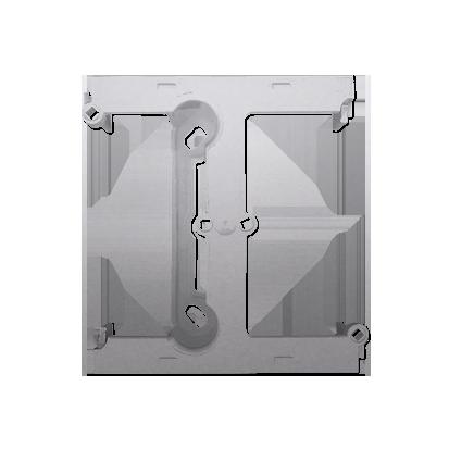 Aufputz- Gehäuse tief (40mm) mit Erweiterungselement für Mehrfach- Rahmen silber matt DSH/43