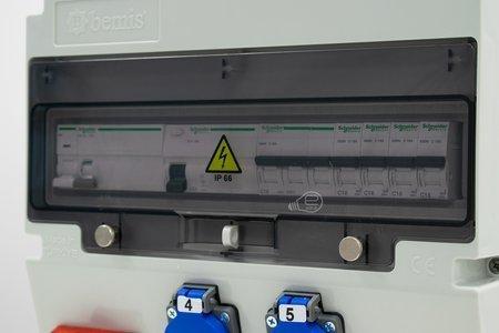 Baustromverteiler ASTAT 397 Plus Komplett IP65 16A/5P, 4x230V SCHUKO IP44, IK08, Arbeitsstromauslöser iMX,Schneider Schalter EDO777397 EDO