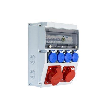 Baustromverteiler Komplett EDO ASTAT 119 PLUS IP65 32A/5P, 16A/5P, 4x230V mit Hager Sicherungen