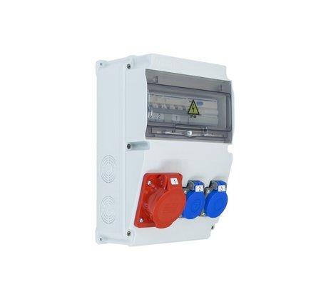 Baustromverteiler Komplett EDO ASTAT 120 PLUS IP65 16A/5P, 2x230V SCHUKO IP44 mit Hager Sicherungen