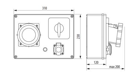 Baustromverteiler, Wandverteiler , Stromverteiler  R-BOX 300 2x16A/5P, 6x250V Schalter 0/1 B.18.3181W Pawbol