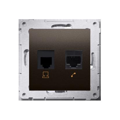 Comuterdose RJ45 Kat.5e (Modul) und Telefondose RJ12 braun matt Kontakt Simon 54 Premium D5T.01/46