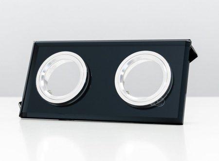 Deckenstrahler Einbaustrahler aus Glas 2fach dekorativ schwarz eckig
