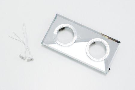 Deckenstrahler Einbaustrahler aus Glas 2fach dekorativ silber eckig
