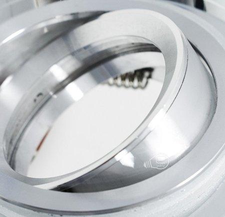 Deckenstrahler Einbaustrahler aus Glas silber schwenkbar rund