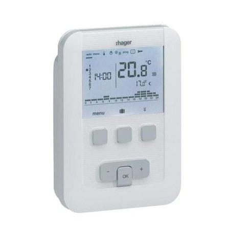 Digitaler Uhrenthermostat, wöchentlich, zweiadrig, 1P/5A, Batteriebetrieb EK520 Hager