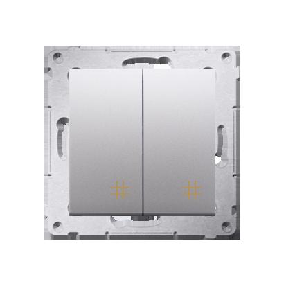 Doppel- Kreuzschalter (Modul) mit Aufdruck Silber Kontakt Simon 54 Premium DW7/2.01/43