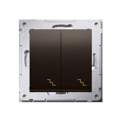 Doppel- Treppenschalter (Modul) mit Aufdruck braun Kontakt Simon 54 Premium DW6/2.01/46