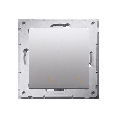 Doppel- Treppenschalter (Modul) mit Aufdruck und LED Silber Kontakt Simon 54 Premium DW6/2L.01/43