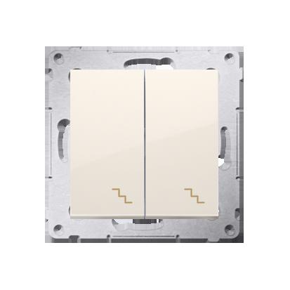 Doppel- Treppenschalter (Modul) mit Aufdruck und LED cremeweiß Kontakt Simon 54 Premium DW6/2L.01/41