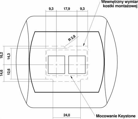Doppelte Multimedia-Slot-Mechanismus ohne Modul (Keystone-Standard) braun 9GM-2P