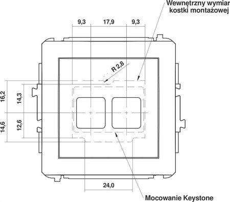 Doppelte Multimedia-Slot-Mechanismus ohne Modul (Keystone-Standard) graphit 11DGM-2P