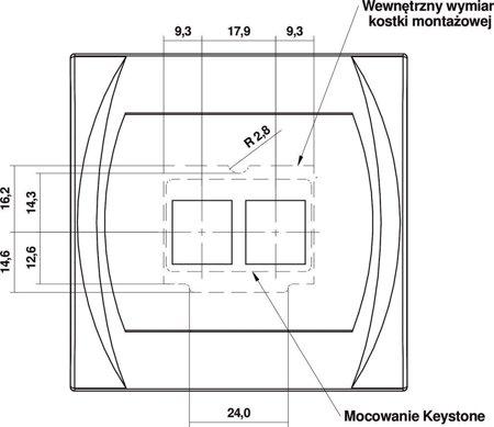 Doppelte Multimedia-Steckdose ohne Modul (Keystone-Standard) gold 8LGM-2P