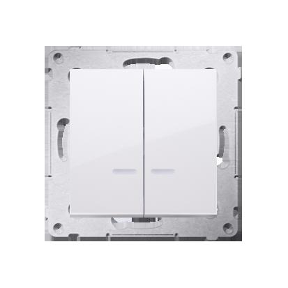Doppelter Kerzenschalter (Modul) mit LED IP44 weiß Kontakt Simon 54 Premium DW5ABL.01/11