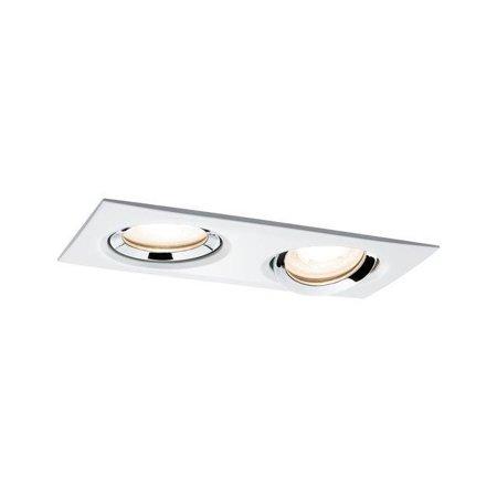 Einbauleuchte, schwenkbar eckig NOVA LED 2x7W GU10 IP65 WW - Chrom, Weiß Paulmann PL92902