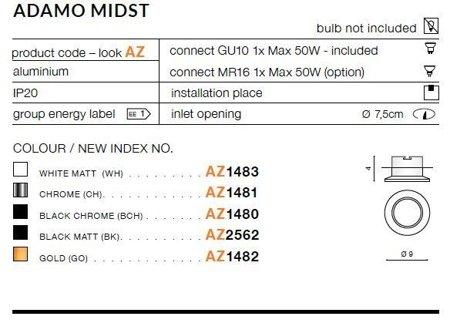 Einbaustrahler ADAMO MIDST Modern Aluminium Schwarz Azzardo AZ1480