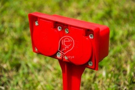 Garten-Steckdose , außen, zweifach mit Erdung, mit Erdspieß, GOS-20-44