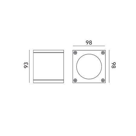 Gartendeckenlampe quadratisch QUAZAR 17 grau GU10 230V IP44 Kobi KTLOQZ17SZ