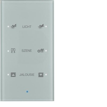 Glas-Sensor 3fach Komfort TS Sensor konfiguriert alu Hager 75143134