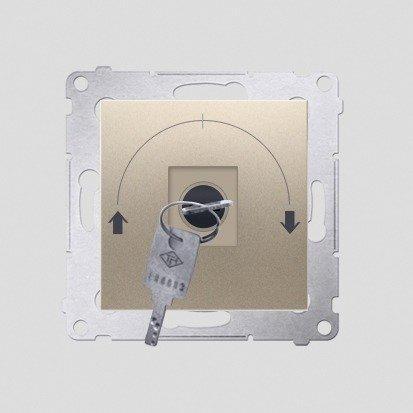 """Jalousie-Schlüsselschalter 1polig """"0-I-II"""" Gold Kontakt Simon 54 Premium DPZK.01/44"""