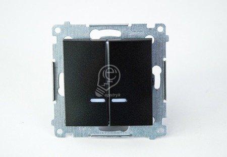 Kerzenschalter (Modul) 2x 1polig mit LED anthrazit matt IP44 Kontakt Simon 54 Premium DW5BL.01/48