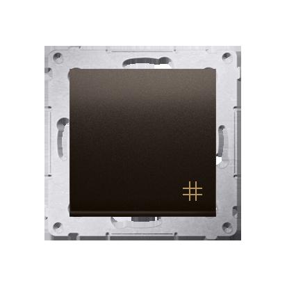 Kreuzschalter (Modul) mit Aufdruck und Braun matt Kontakt Simon 54 Premium DW7A.01/46