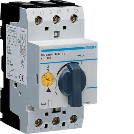 Motorschutzschalter einstellbar von 6,3A bis 10A 230/400V Hager MM510N