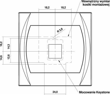 Multimedia-Steckdose ohne Modul (Keystone-Standard) gold 9LGM-1P