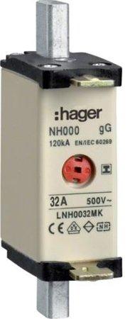NH-Sicherungseinsatz NH000 gG 500V 32A Kombi-Melder mit isolierter-Grifflasche Hager LNH0032MK
