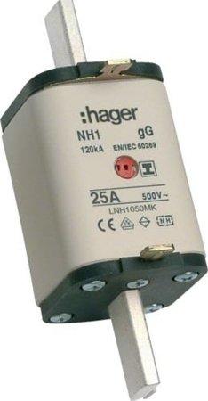 NH-Sicherungseinsatz NH1C gG 500V 125A Kombi- Melder mit isolierter  Grifflasche Hager LNH1125MK