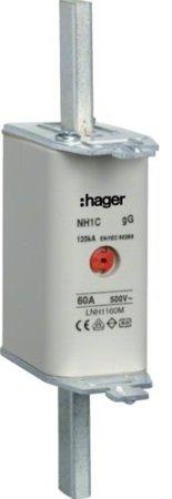 NH-Sicherungseinsatz NH1C gG 500V 160A Kombi-Melder Grifflasche spannungsführend Hager LNH1160M