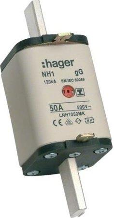 NH-Sicherungseinsatz NH1C gG 500V 50A Kombi- Melder mit isolierter  Grifflasche Hager LNH1050MK