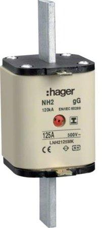 NH-Sicherungseinsatz NH2C gG 500V 125A Kombi- Melder mit isolierter Grifflasche Hager LNH2125MK