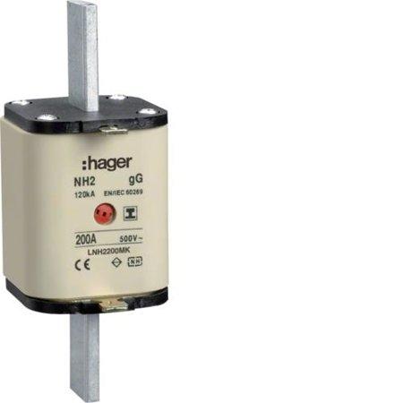 NH-Sicherungseinsatz NH2C gG 500V 200A Kombi- Melder mit isolierter Grifflasche Hager LNH2200MK