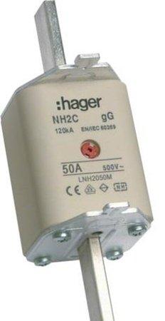 NH-Sicherungseinsatz NH2C gG 500V 50A Kombi- Melder Grifflasche spannungsführend Hager LNH2050M