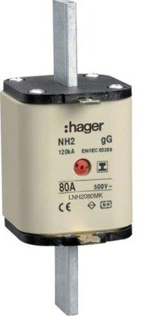 NH-Sicherungseinsatz NH2C gG 500V 80A Kombi- Melder mit isolierter Grifflasche Hager LNH2080MK