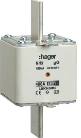 NH-Sicherungseinsatz  NH3C gG 690V 355A Kombimelder Grifflasche spannungsführend Hager LNH3355M6