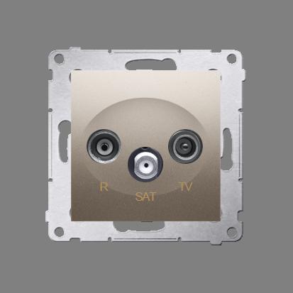 R-TV-SAT-Enddose Einsatz gold matt Simon 54 Premium Kontakt Simon DASK.01/44