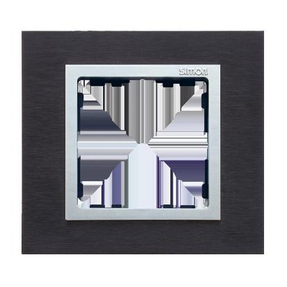 Rahmen 1fach Glas Inox schwarz/ Zwischenrahmen aluminium Kontakt Simon 82 82917-38
