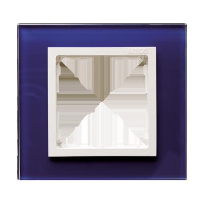 Rahmen 1fach Glas dunkelblau/ Zwischenrahmen weiß Kontakt Simon 82  82617-64