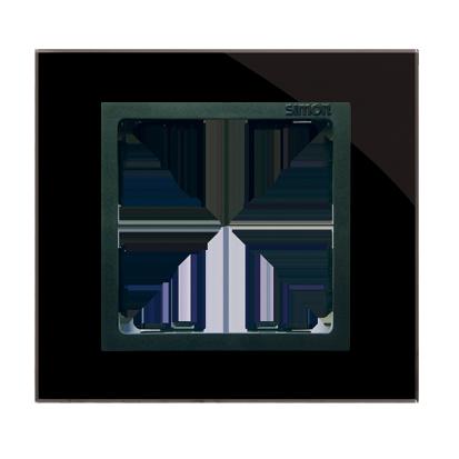 Rahmen 1fach Glas schwarz/ Zwischenrahmen graphit Kontakt Simon 82 82817-32