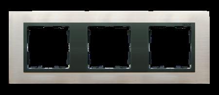 Rahmen 3fach Glas Inox/ Zwischenrahmen graphit Kontakt Simon 82 82837-37
