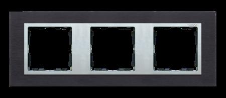 Rahmen 3fach Glas Inox schwarz/ Zwischenrahmen aluminium Kontakt Simon 8282937-38