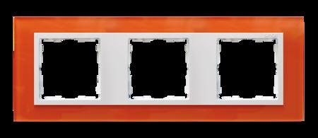 Rahmen 3fach Glas orange/ Zwischenrahmen weiß Kontakt Simon 82  82637-65